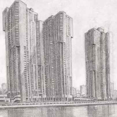 River Park Towers - Bronx NY - Drawings - Originals, prints and limited editions