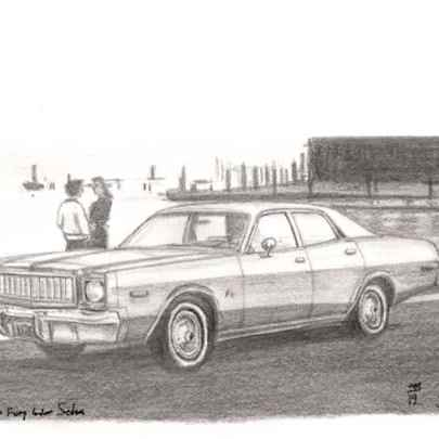 1976 Plymouth Fury 4 door Sedan - Drawings - Originals, prints and limited editions