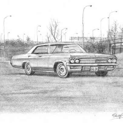 1965 Chevrolet Sports Sedan - Drawings - Originals, prints and limited editions