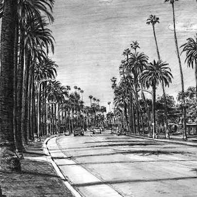 Beverly Drive in Beverly Hills - Original drawings