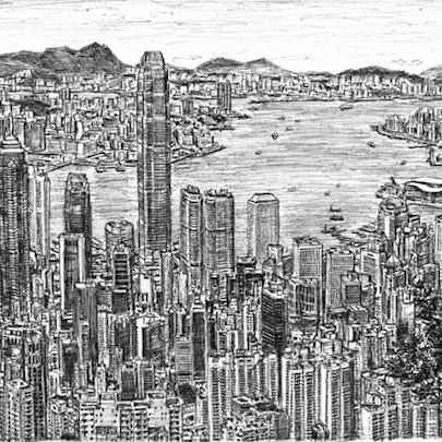 Hong Kong Skyline 2010 (A4 print)3 - Prints for sale