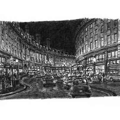 Regent Street at night - Original drawings