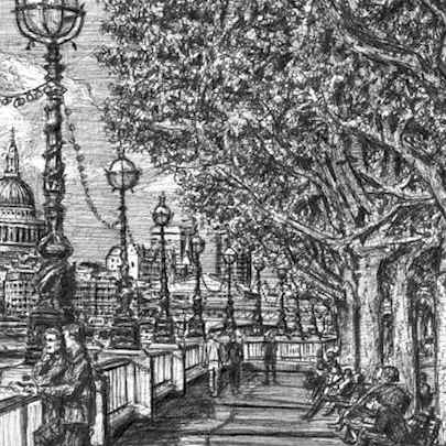 Riverside walk on the Southbank - Drawings - Originals, prints and limited editions