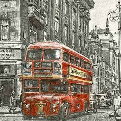 The first London bus entering Oxford street (1956) - Stephen Wiltshire drawings, originals, prints and limited editions - Originals for sale