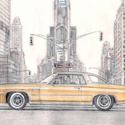 1976 Buick Le Sabine Sport Coupe - Original drawings and Architectural Art