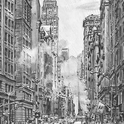 Drawing of 5th Avenue street scene on a rainy day