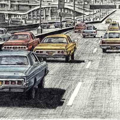 5 Big Chevy cars on the New York freeway - Original drawings