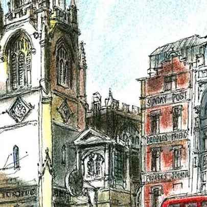 St Dunstans Church on Fleet Street, London - Original drawings