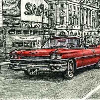 1959 Cadillac Convertible at Piccadilly Circus - Original drawings