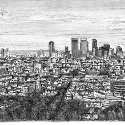 Century City, Los Angeles - Drawings - Originals, prints and limited editions