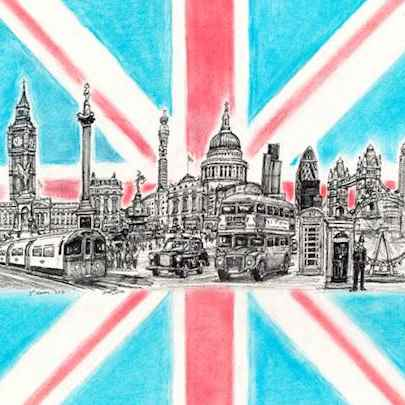London Montage Flag - Original drawings