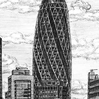 Gherkin Building London - Drawings - Originals, prints and limited editions