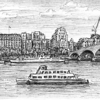 At the Southbank in springtime - Original drawings