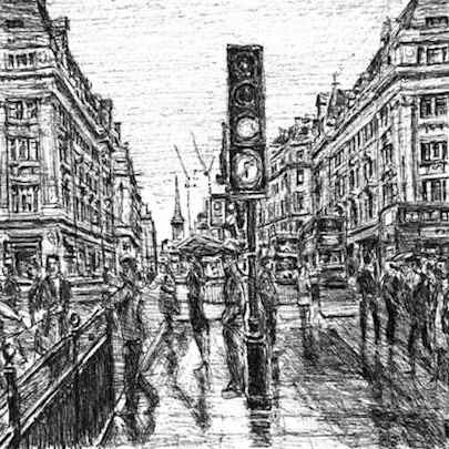 Oxford Street in the rain - Original drawings