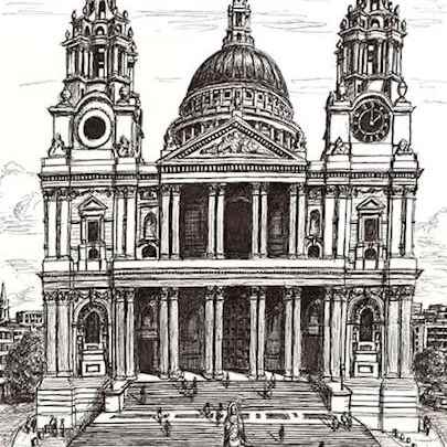 St Pauls Cathedral London - Drawings - Originals, prints and limited editions