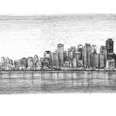 San Francisco Skyline - Drawings - Originals, prints and limited editions