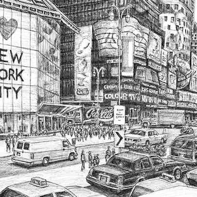 Times Square (New York City) - Drawings - Originals, prints and limited editions