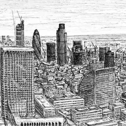 View from the top of Cromwell Tower, Barbican - Drawings - Originals, prints and limited editions