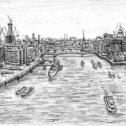 View of London from the turrets of Tower Bridge - Drawings - Originals, prints and limited editions