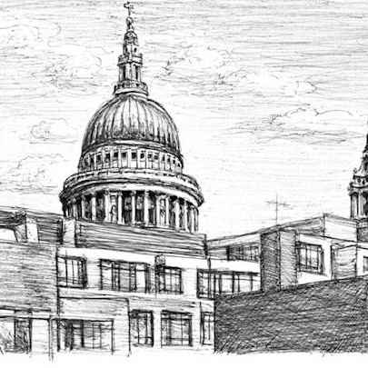 View of St Pauls from Fleet street - Drawings - Originals, prints and limited editions