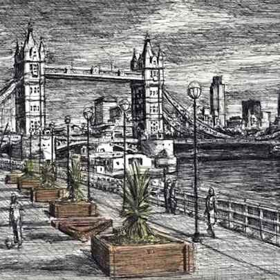 River Thames with Tower Bridge - Drawings - Originals, prints and limited editions