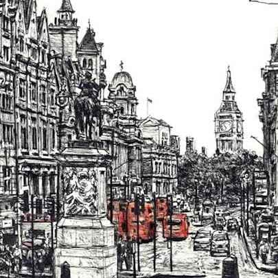 View of Whitehall from Trafalgar square - Drawings - Originals, prints and limited editions