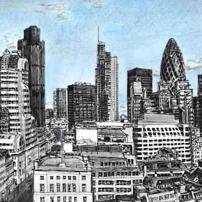 Drawing of View of City of London from the Monument
