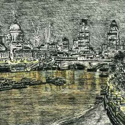 St Pauls and London Skyline at night - Drawings - Originals, prints and limited editions