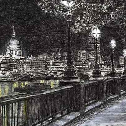 St Pauls and London skyline from Southbank at night - Drawings - Originals, prints and limited editions