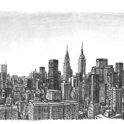 Manhattan Skyline (postcard)1 - Prints for sale