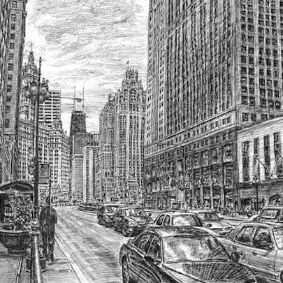 Drawing of Chicago street scene