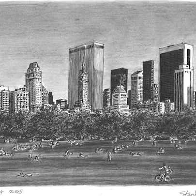 Central Park - Drawings - Originals, prints and limited editions