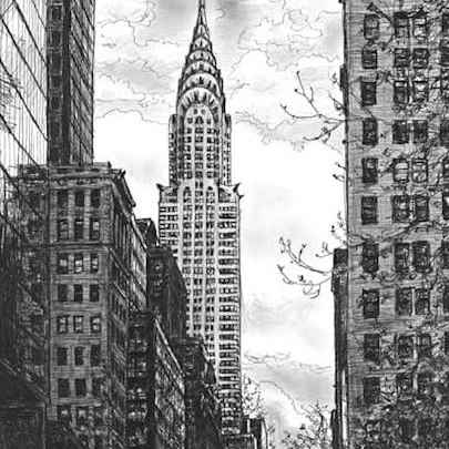 Chrysler Building - Drawings - Originals, prints and limited editions