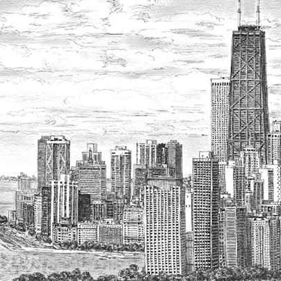 Chicago Skyline - Drawings - Originals, prints and limited editions