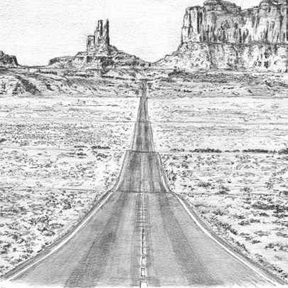 Grand Canyon (Monument Valley) - Drawings - Originals, prints and limited editions