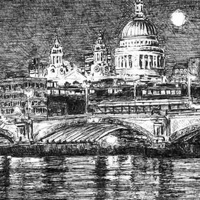 Drawing of St Pauls Cathedral and River Thames at night