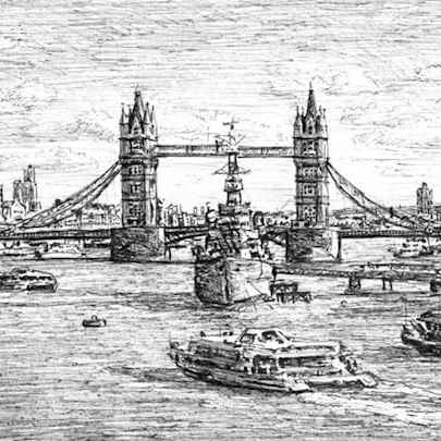 HMS Belfast and Tower Bridge (London) - Drawings - Originals, prints and limited editions