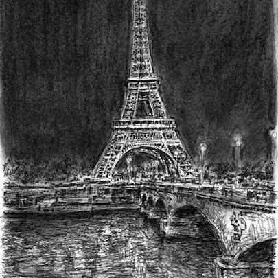 Eiffel Tower at night (Paris) - Drawings - Originals, prints and limited editions