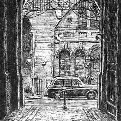 Drawing of Taxi and cobbled alley