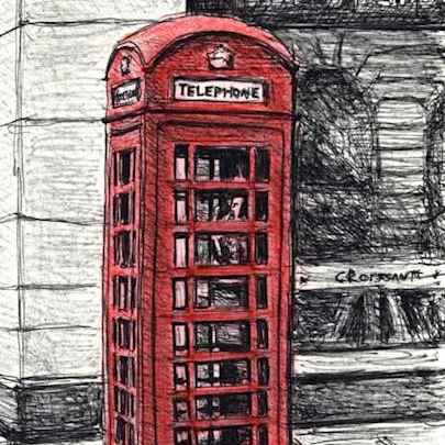 Drawing of Telephone Box near the Royal Opera Arcade