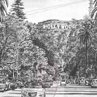 Hollywood Sign - Drawings - Originals, prints and limited editions