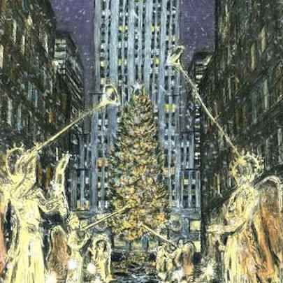 Drawing of Rockefeller Center at Christmas