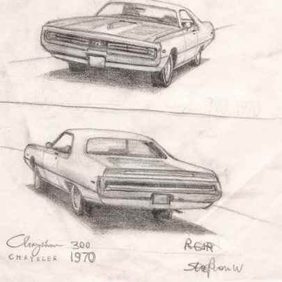1970 Chrysler 300 - Drawings - Originals, prints and limited editions