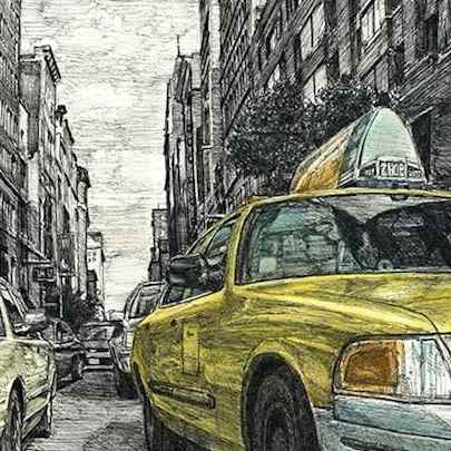 Drawing of New York street scene with New York taxi cab