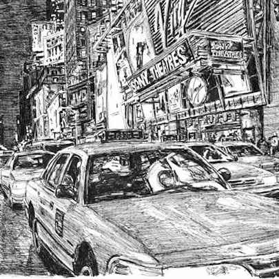 New York taxis at Times Square - Original Drawings