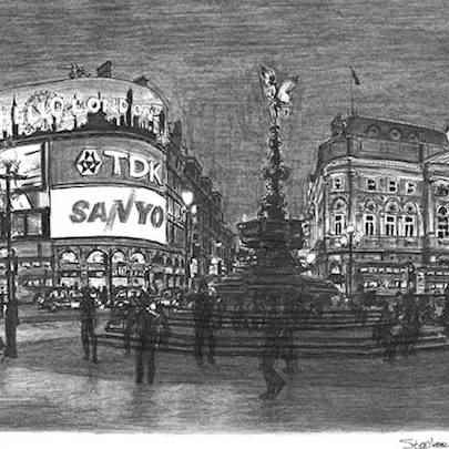Piccadilly Circus, London - Drawings - Originals, prints and limited editions