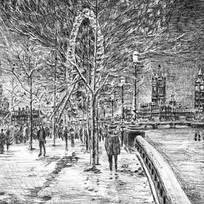 Winter scene at the Southbank - Drawings - Originals, prints and limited editions