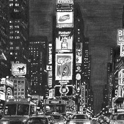 Times Square at night - Drawings - Originals, prints and limited editions