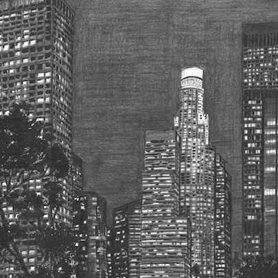 Los Angeles at night - Drawings - Originals, prints and limited editions