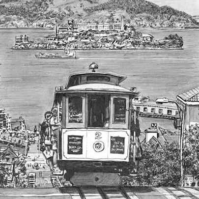 Cable car in San Francisco (A3 print)2 - Prints for sale